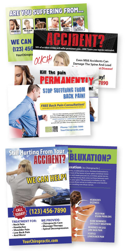 chiropractic marketing, new patient marketing, new patient postcards, pi postcards, auto accident postcards, pi posters