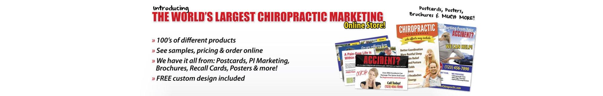 chiropractic marketing, new patient marketing, new patient postcards, chiropractic brochures, chiropractic business cards, chiropractic logos, chiropractic posters, chiropractic flyers, chiropractic print materials
